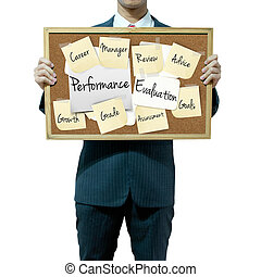 Business man holding board on the background, Performance...