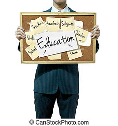 Business man holding board on the background, Education...