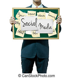 Business man holding board on the background, Social Media concept