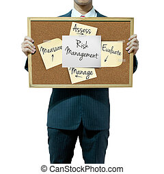 Business man holding board on the background, risk...