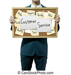 Business man holding board on the background, Customer...