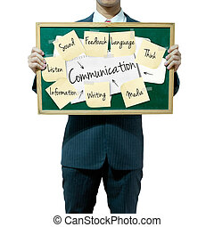 Business man holding board on the background, Communication concept