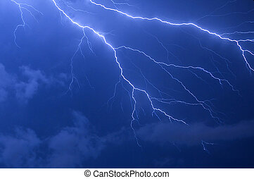 Lightning Strike - Blue lightning strike electrical storm...