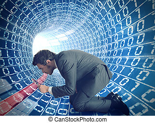 Virus search - Businessman searching virus in a internet...