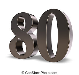 number eighty - metal number eighty on white background - 3d...