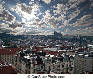 Prague - Panorama with Hradcany and Old Town in the stormy day