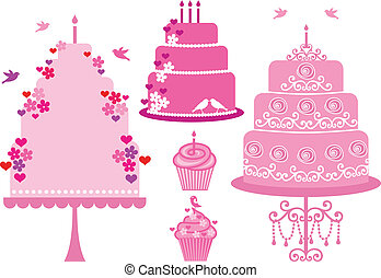 wedding and birthday cakes, vector - Cakes and cupcakes with...