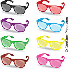 set of color sunglasses