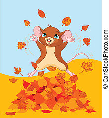 Happy fall mouse - Illustration of a mice jumping in a pile...