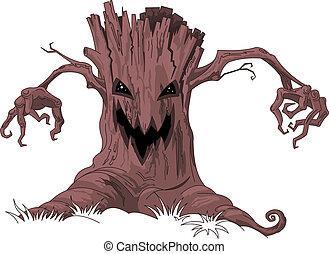 assustador, árvore