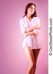 Pretty woman - Picture of beautiful woman isolated on pink...