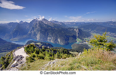 Konigssee lake - Alps mountains and Konigssee lake in...