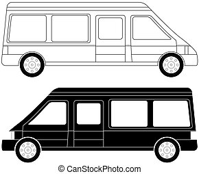 two mini bus silhouette - set of two mini bus silhouette