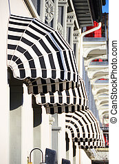 Striped awnings of a restaurant