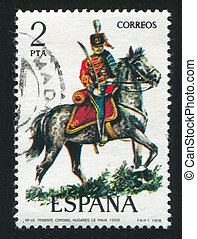 Lieutenant Colonel Hussar - SPAIN - CIRCA 1977: stamp...