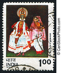 Kathakali dancing - INDIA - CIRCA 1975: stamp printed by...