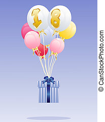 18th birthday - an illustration of a birthday gift with...