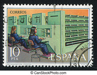 mechanization postal - SPAIN - CIRCA 1976: stamp printed by...