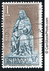 Bridget statue - SPAIN - CIRCA 1971: stamp printed by Spain,...