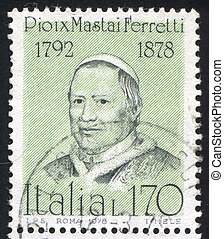 Pope Pius IX - ITALY - CIRCA 1978: stamp printed by Italy,...
