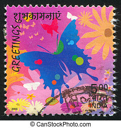 butterflies - INDIA - CIRCA 2003: stamp printed by India,...