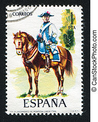 Cavalry officer - SPAIN - CIRCA 1975: stamp printed by...