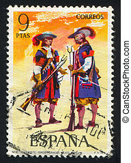 Two Musketeers - SPAIN - CIRCA 1973: stamp printed by Spain,...
