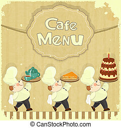 Cafe Menu Card in Retro style - cooks brought dessert -...