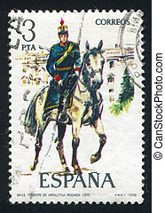 Mounted artillery lieutenant - SPAIN - CIRCA 1977: stamp...