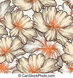 Romantic seamless pattern with blooming roses, hand-drawing....