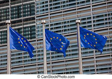 europeu, Bandeiras, frente, Berlaymont, predios, sede,...