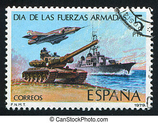 troops - SPAIN - CIRCA 1979: stamp printed by Spain, shows...