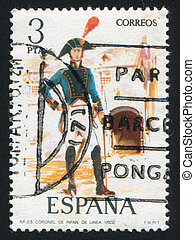 Infantry Colonel - SPAIN - CIRCA 1975: stamp printed by...