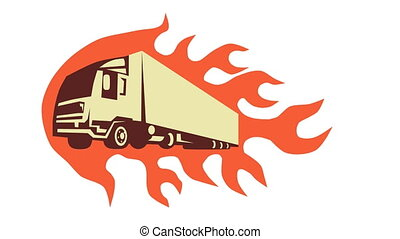 Container Truck and Trailer Flames - 2d animation of a truck...