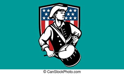 american patriot revolutionary drum - 2d animation of a...