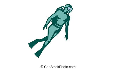 scuba diver diving retro - 2d animation of a scuba diver...