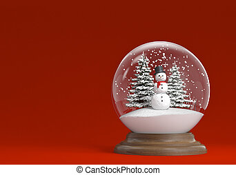 snowglobe with snowman and trees on a red background copy...