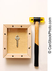 emergency exit, hammer on wall and key in glass box