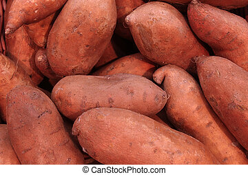 sweet potatoes - pile of sweet potatoes at a farmers market
