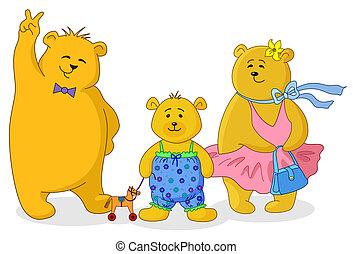 Teddy bears family - Family of toy teddy bears, mum, father...