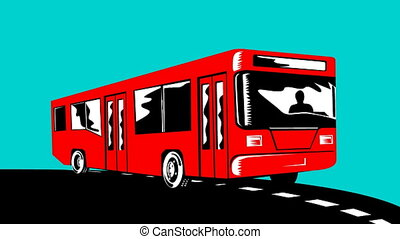 Coach Bus Shuttle Retro - 2d animation of a coach bus...