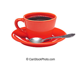 Red cup of coffee on plate and spoon isolated on white...