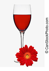 Classic Glass of Red Wine and Red Gerbera Flower isolated on...