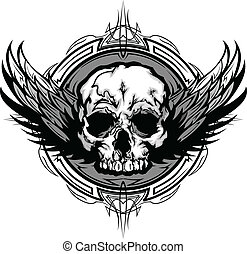 Skull with Wings and Tribal Outline Ornate Graphic Vector...