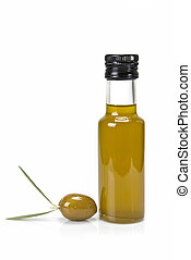 One olive and a bottle of oil