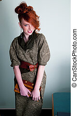 Sensual young redhead fashion model - Pretty gentle red head...