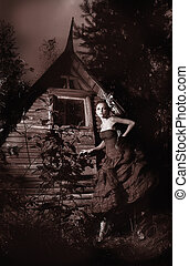 Night picturesque scenery - fairy walking along wooden hut -...