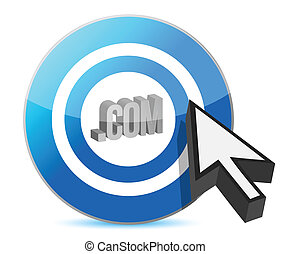 Blue target com web illustration design over white