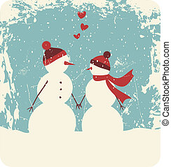 Christmas Love - Illustration of two cute snowmen in love...