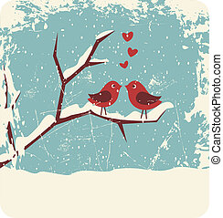 Christmas Love - Illustration of two cute birds in love at...